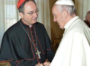 Cardeal Sergio da Rocha, presidente da CNBB, concede entrevista após encontro com o Papa