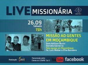 Live do COMIRE no sábado (15h) é sobre a Missão em Moçambique
