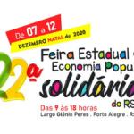 22ª FeiraEstadual de Economia Solidária começa nesta segunda (7)